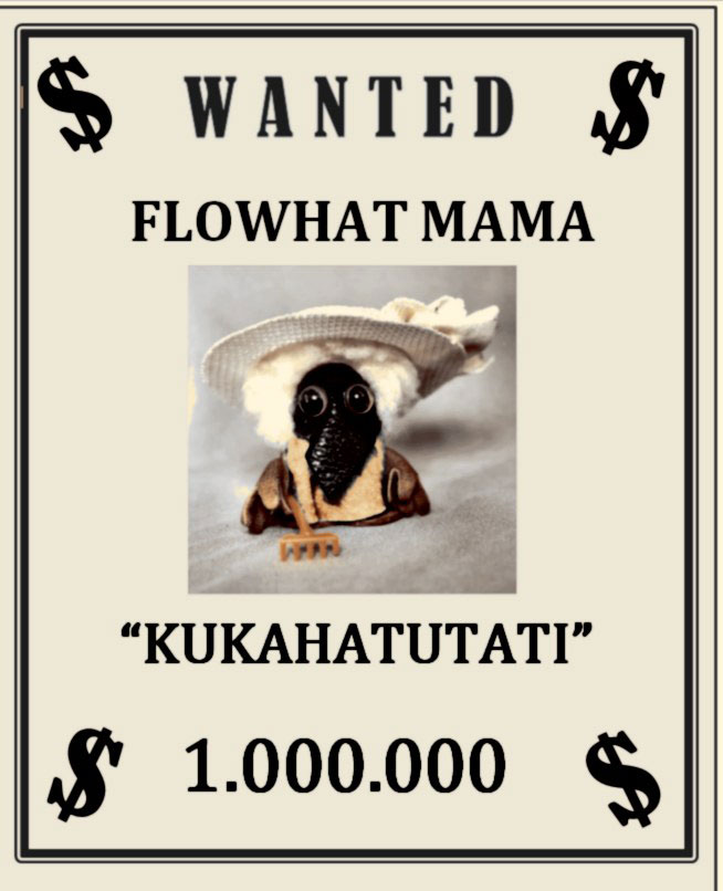 Kuvassa vanha, amerikkalaistyylinen etsintäkuulutusjuliste, jossa haetaan kuvan kanssa kukahatutatia miljoonan dollarin palkkiolla.